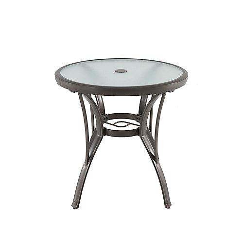 Commercial Grade Aluminum Round Outdoor Patio Bistro Table in Brown