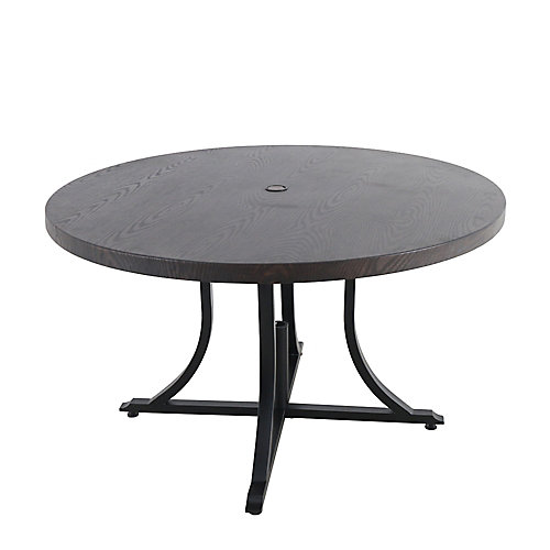 Beacon Park 48-inch Diameter Brown Round Steel Outdoor Patio Dining Table