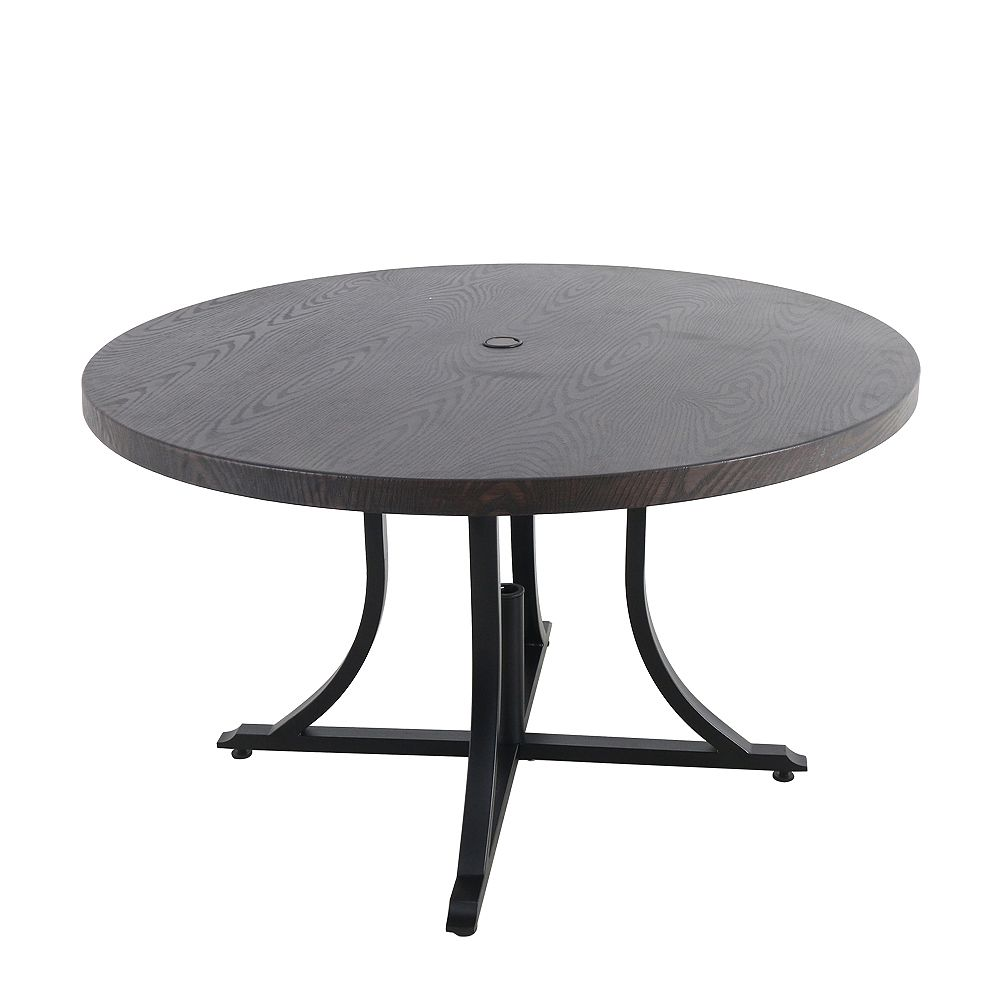 Hampton Bay Beacon Park 48 Inch Diameter Brown Round Steel Outdoor Patio Dining Table The Home Depot Canada