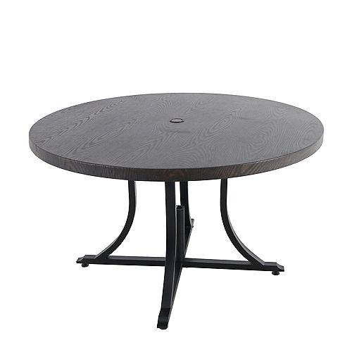 Hampton Bay Beacon Park 48-inch Diameter Brown Round Steel Outdoor Patio Dining Table