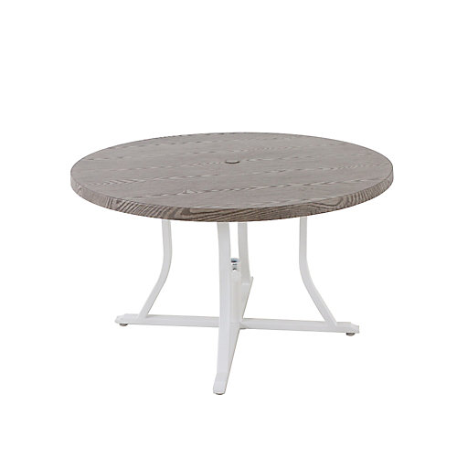 Beacon Park 48-inch Diameter Grey Round Steel Outdoor Patio Dining Table