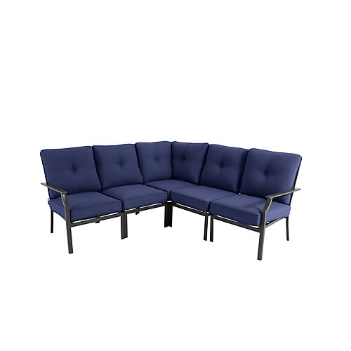 Coopersmith 4-Piece Patio Sectional Set with Navy Cushions