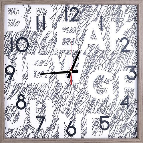 Signature encadré Texture décorative silencieuse Art horloge | 21.25X21.25 | Blanc, noir, gris
