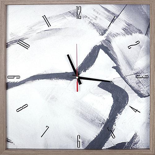 noir et gris imprimé abstrait encadré Texture décoratif horloge Art silencieux|Blanc, noir, gris