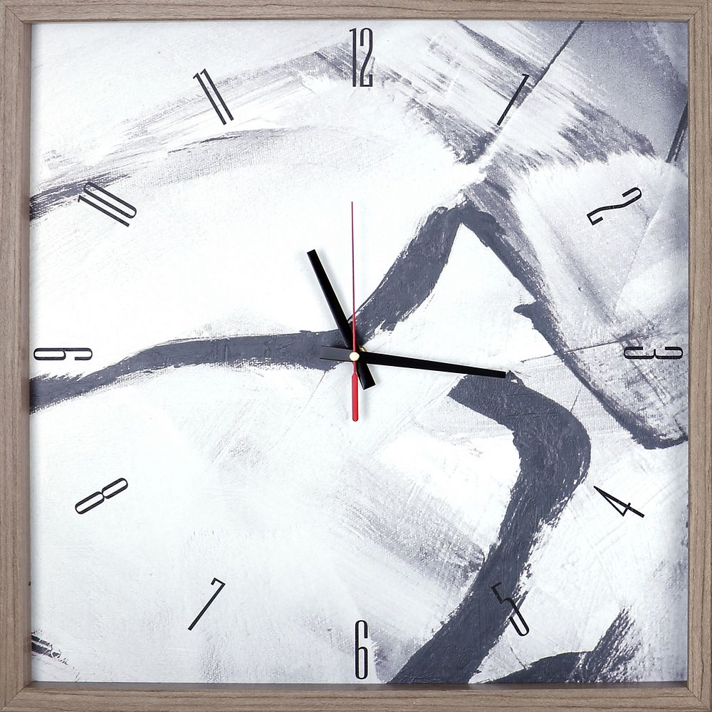 ArtMaison Canada Black and Gray Abstract Print Framed Texture Decorative Silent Art Clock,  21.25X21.25