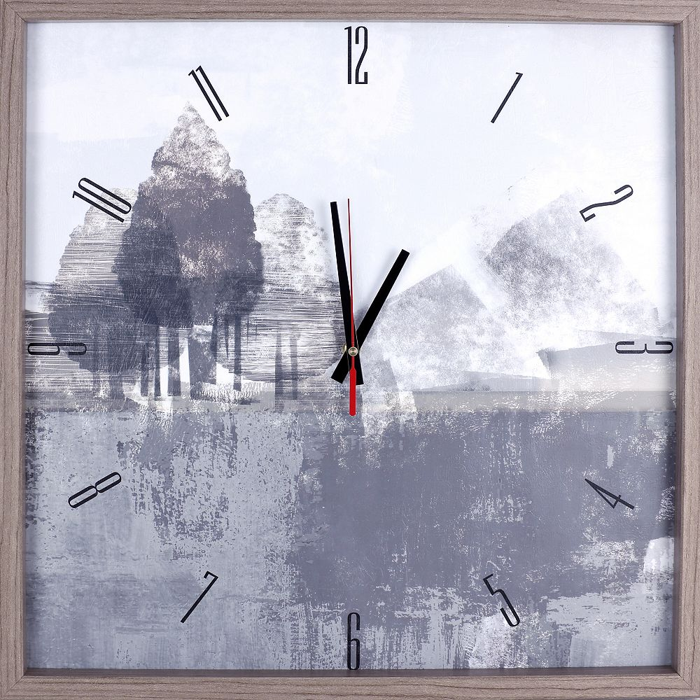 ArtMaison Canada Landscape Gray Tree Framed Texture Decorative Silent Art Clock,  21.25X21.25 White, Gray ,Yellow