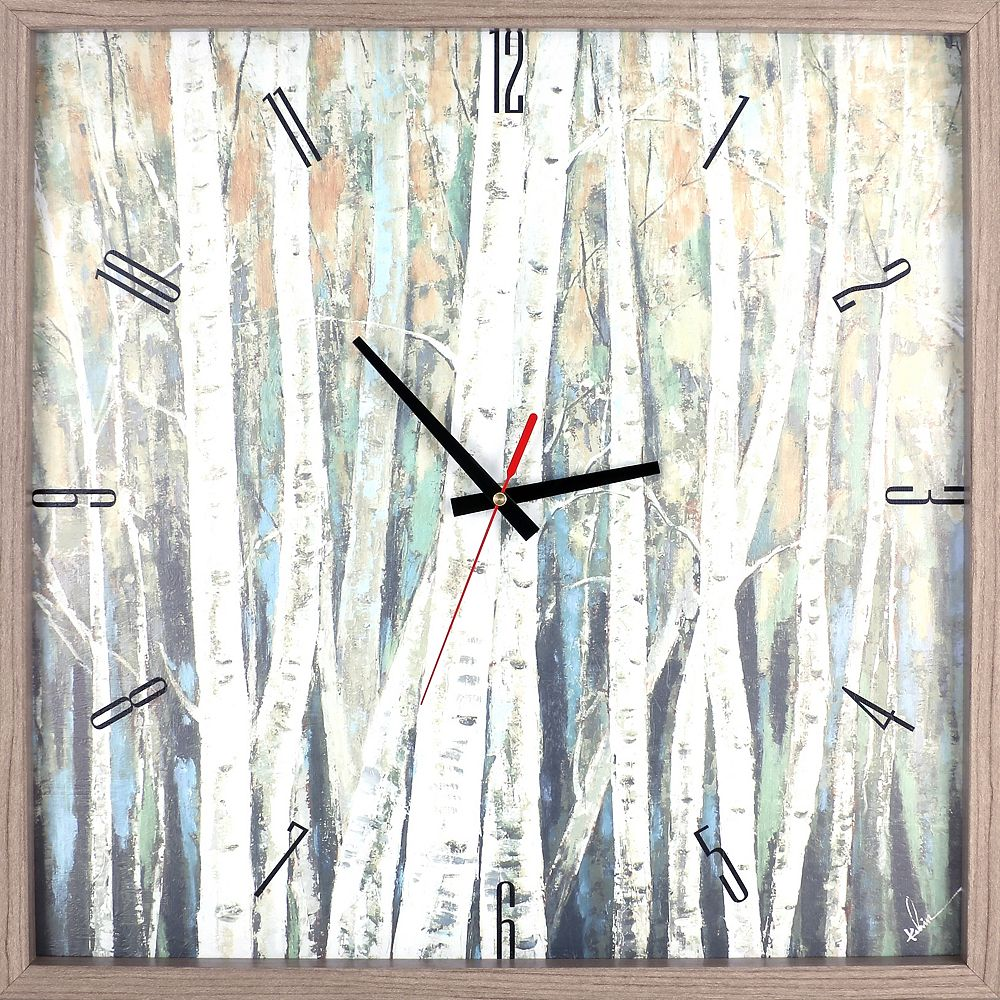 ArtMaison Canada paysage de bouleau arbres encadrée Texture décorative silencieuse Art horloge-21.5X21.5