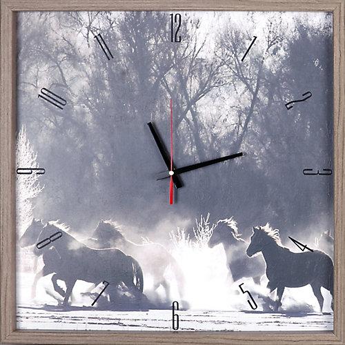 chevaux animaux encadré Texture décorative silencieuse Art horloge | 21.5X21.5 | Gris, blanc