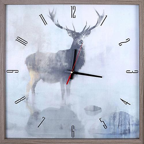 animaux cerfs encadré Texture décorative silencieuse Art horloge | 21.5X21.5 | Noir, blanc