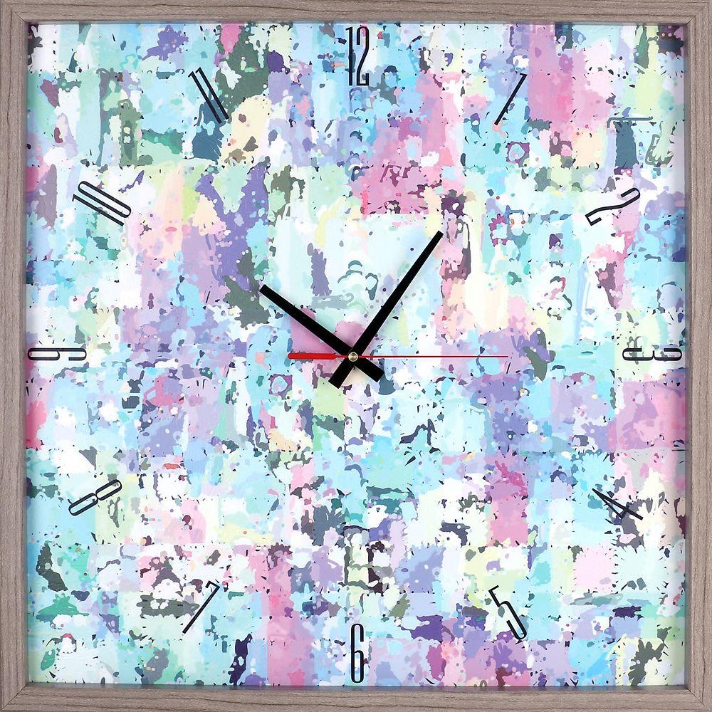 ArtMaison Canada Abstract  Color Blocks Framed Texture Decorative Silent Art Clock  21.5X21.5 Yellow, Blue,Green