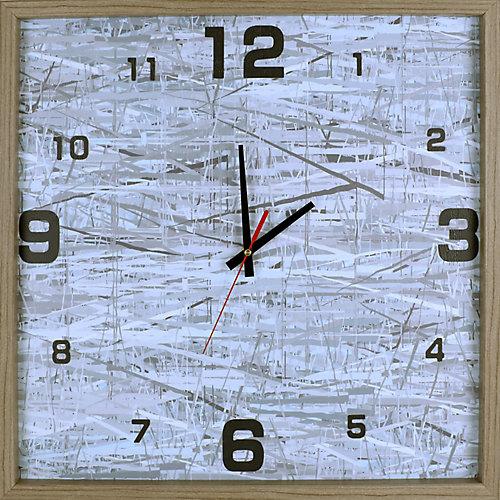 abstrait gris Net Print encadré Texture décoratif horloge Art silencieux,|21.25X21.25|Blanc, gris