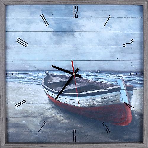 paysage bateau par la rive impression encadrée Texture décorative silencieux Art horloge|21X21