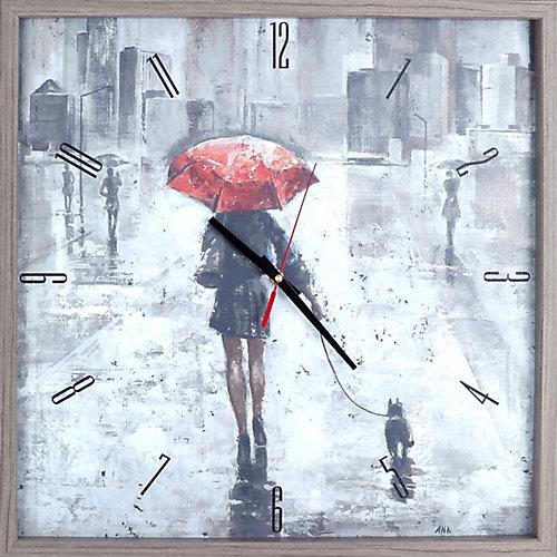 tirage figuratif parapluie rouge dans un cadre décoratif horloge d'Art silencieux, de Texture|21X21