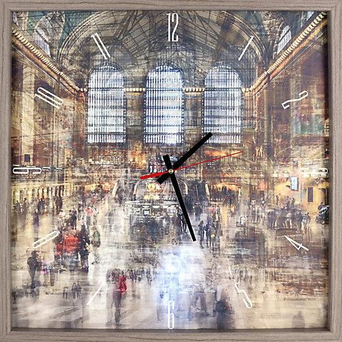 paysage Train Station Texture encadrée impression décorative silencieuse Art horloge,|21X21