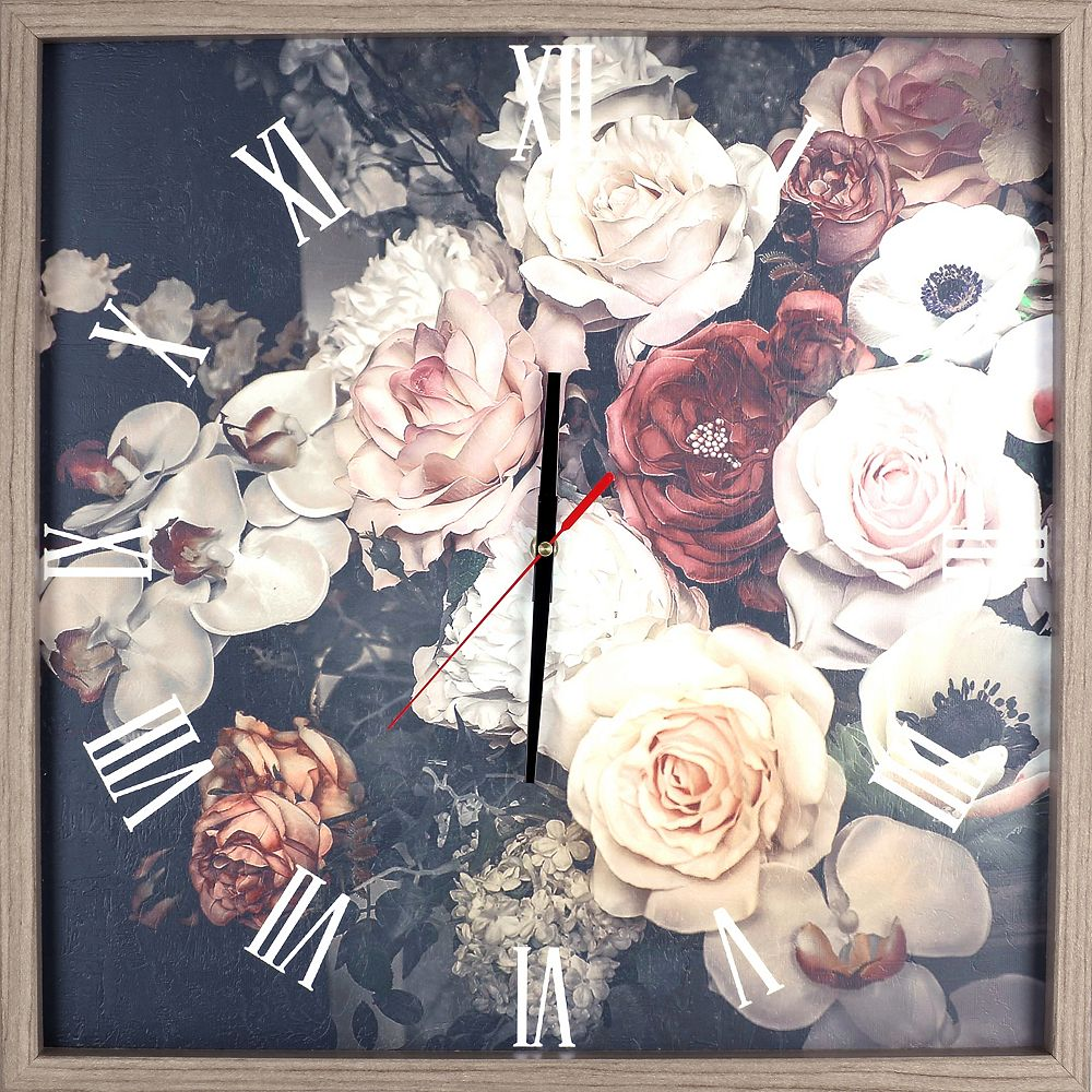 ArtMaison Canada Floral Rose Arrangement Print encadré Texture décorative silencieuse Art horloge