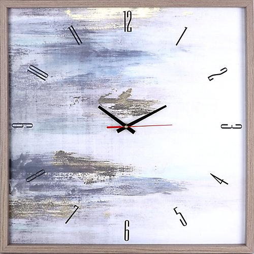 or résumé j'ai encadré Texture décoratif horloge Art silencieux, | 25.25X25.25 | Bleu, blanc, or