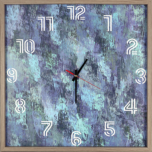 abstrait bleu encadré Texture décorative silencieuse Art horloge | 25.25X25.25 | Bleu