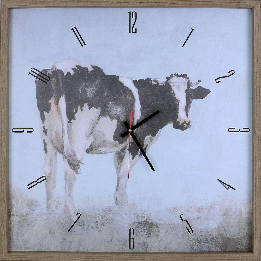 ArtMaison Canada Animal vache j'ai encadré Texture décorative silencieuse Art horloge-25.25X25.25-Noir, blanc