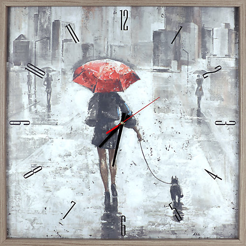 figuratif parapluie rouge imprimer encadré Texture décoratif horloge Art silencieux
