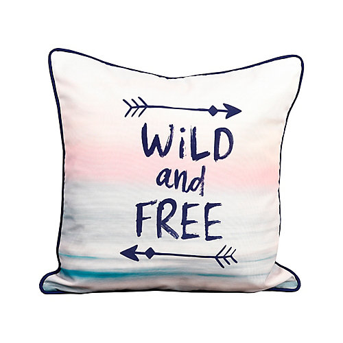 """""""Wild and Free"""" Outdoor Decor Typography Pillow"""
