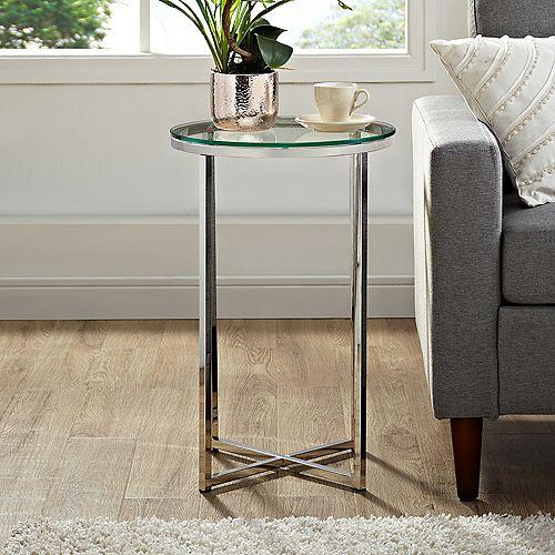 Table d'appoint ronde de 40,64 cm (16 po) - Verre/Chrome