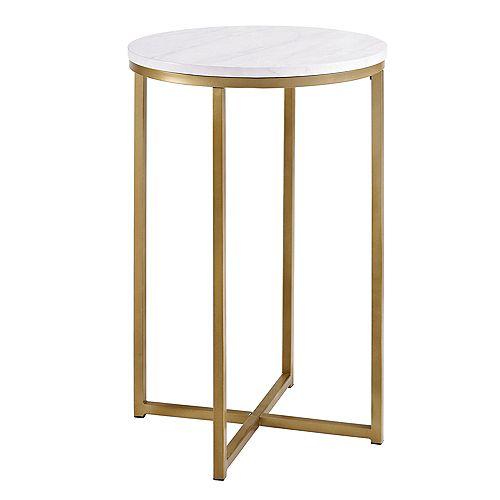 Table d'appoint ronde de 40,64 cm (16 po) - Mabre/Or