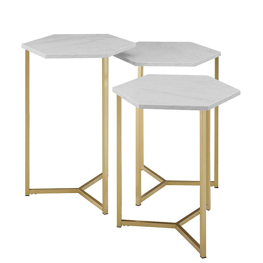 Welwick Designs Tables de nuit en bois moderne, ensemble de 3 - faux marbre blanc/Or
