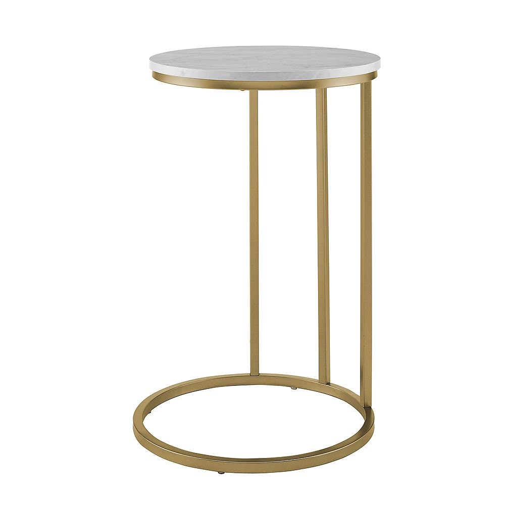 Welwick Designs Modern Round End Table - White Marble Top, Gold Base