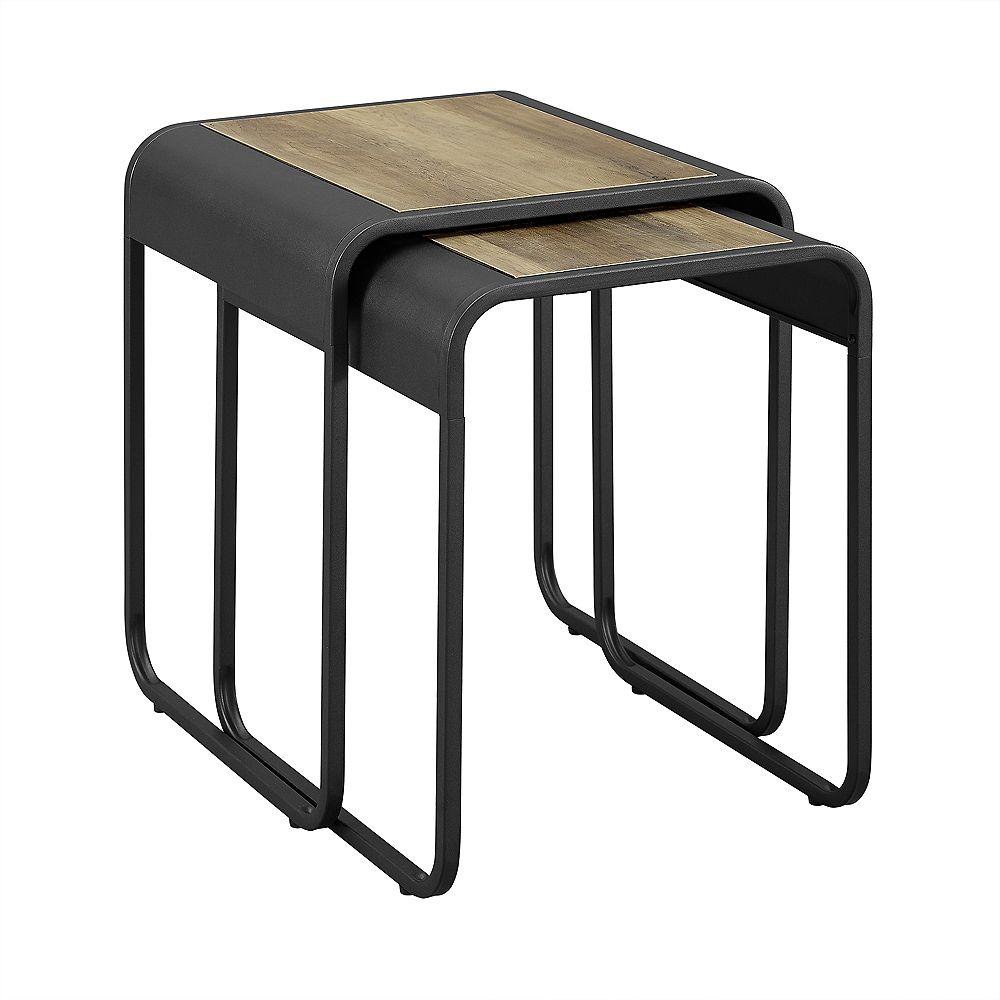 Welwick Designs Curved Metal Nesting Side Tables - Set of 2 - Reclaimed Barnwood / Black