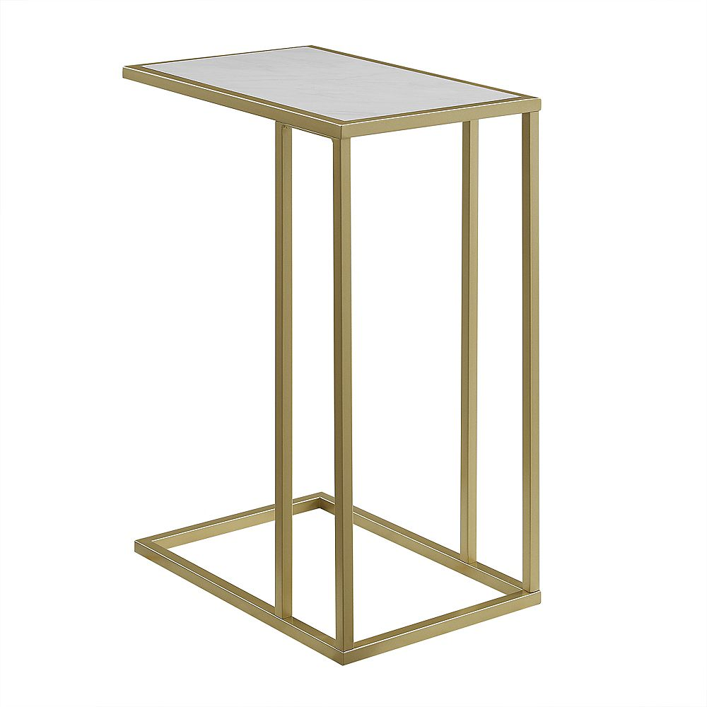Welwick Designs 20-inch White Faux Marble/ Gold Urban Industrial Modern Contemporary Transitional Asymmetrical Side Accent Table