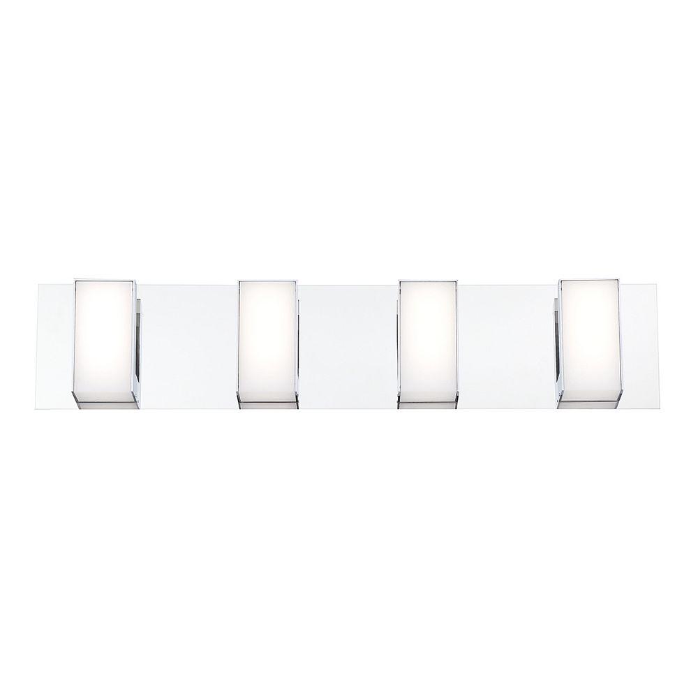 Eurofase Barre d'éclairage pour meuble-lavabo Delrosa à 4ampoules DEL en chrome
