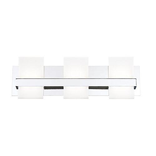 Eurofase Barre d'éclairage pour meuble-lavabo Cambridge Architectural à 3ampoules DEL en chrome