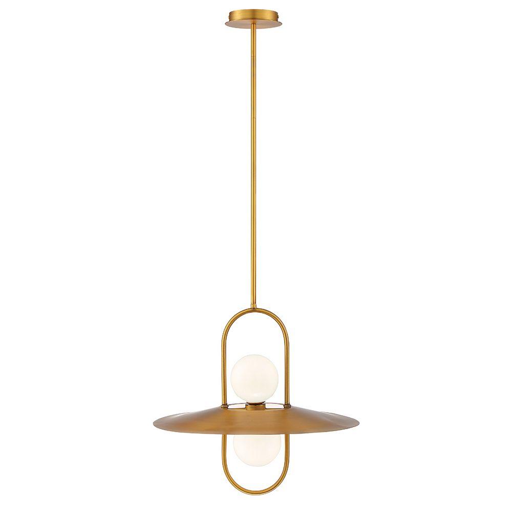 Eurofase Millbrook Modern 2-Light LED Chandelier in Brass