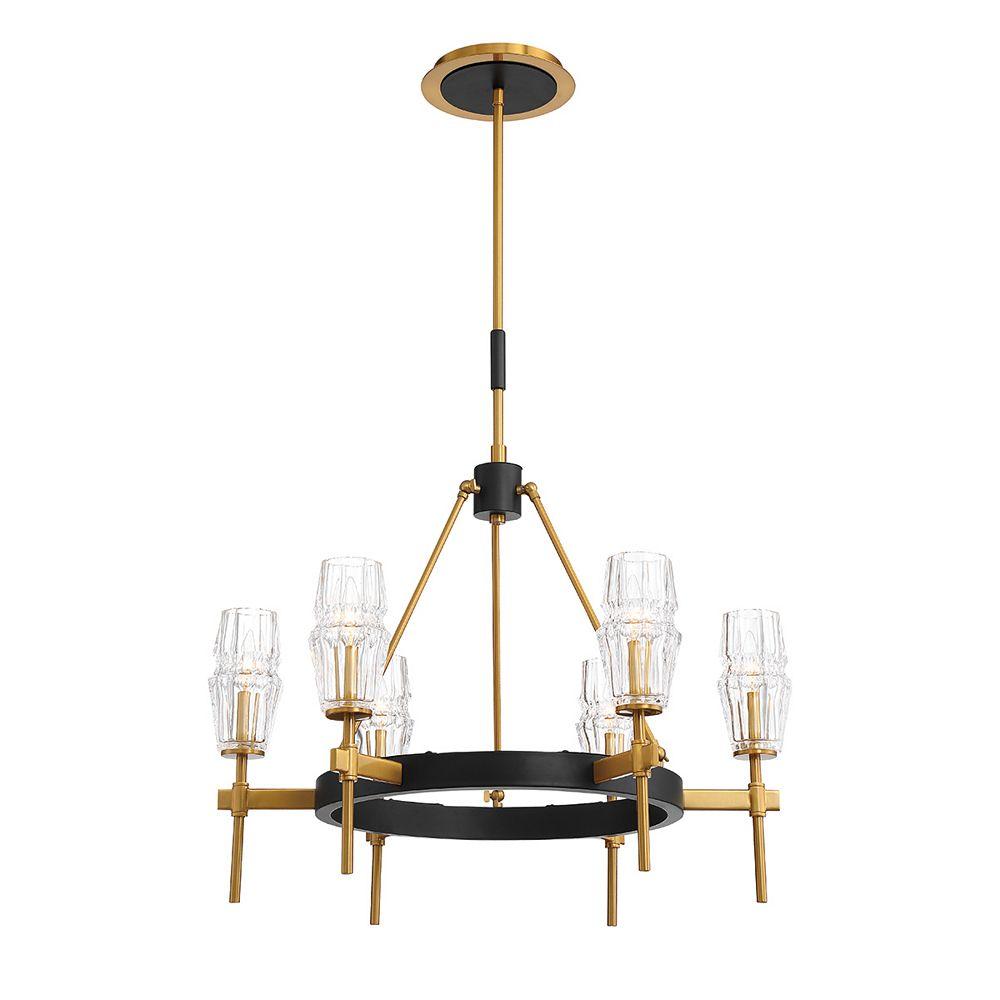 Eurofase Lustre Gladstone à 6 ampoules, or et noir rétro