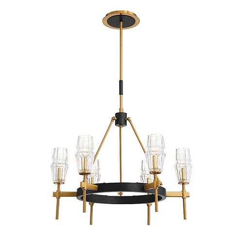Eurofase Gladstone Retro Gold and Black 6-Light Chandelier