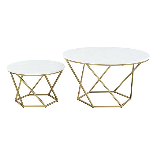 Modern Nesting Coffee Table, Set of 2  - White Marble/Gold