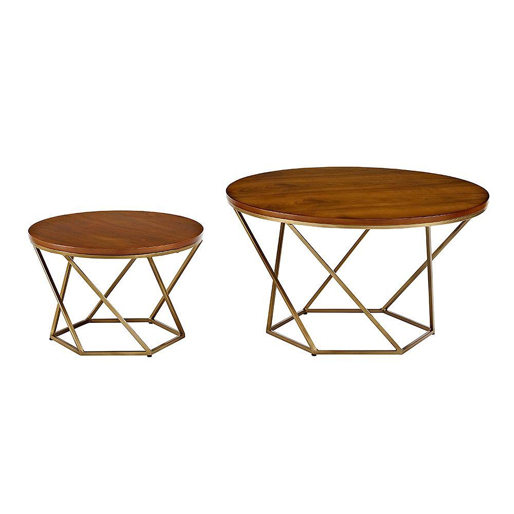 Welwick Designs Modern Nesting Coffee Table, Set of 2  - Walnut/Gold