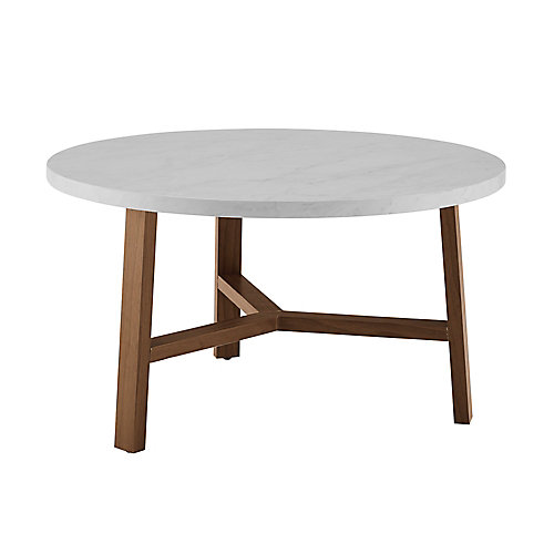 Mid Century Modern Round Coffee Table - White Marble/Acorn