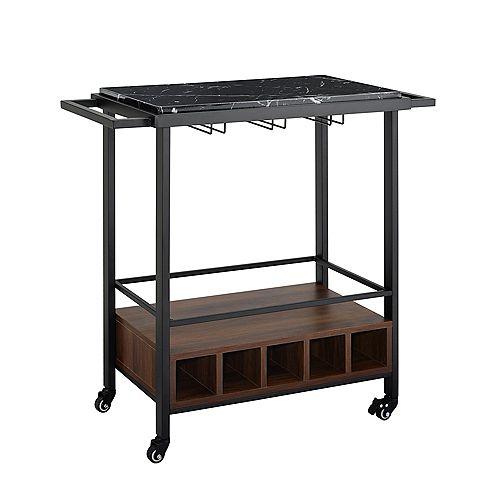 Modern Industrial Bar Serving Cart - Black Marble/Dark Walnut