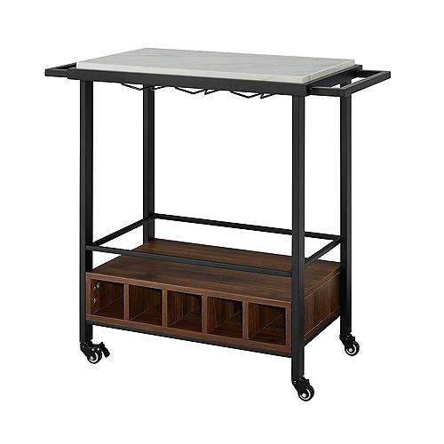 Modern Industrial Bar Serving Cart with Wheels- White Marble/Dark Walnut