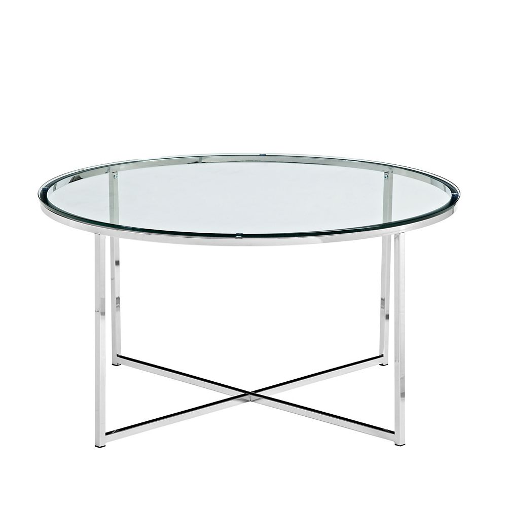 Welwick Designs Modern Round Coffee Table - Glass/Chrome
