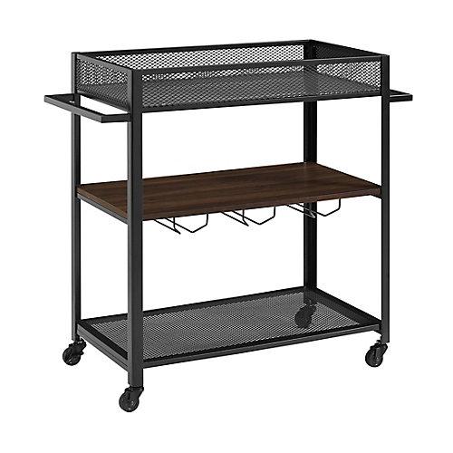 Industrial Bar Cart and Wine Rack - Dark Walnut