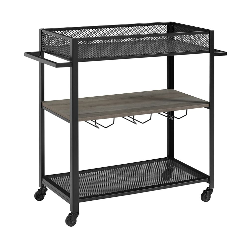 Welwick Designs Industrial Bar Cart and Wine Rack - Grey Wash