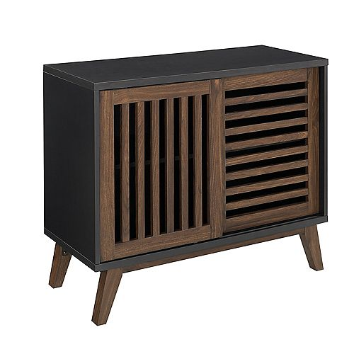 Mid Century Modern TV Stand and Storage Cabinet for TV's up to 40 inch - Black / Dark Walnut