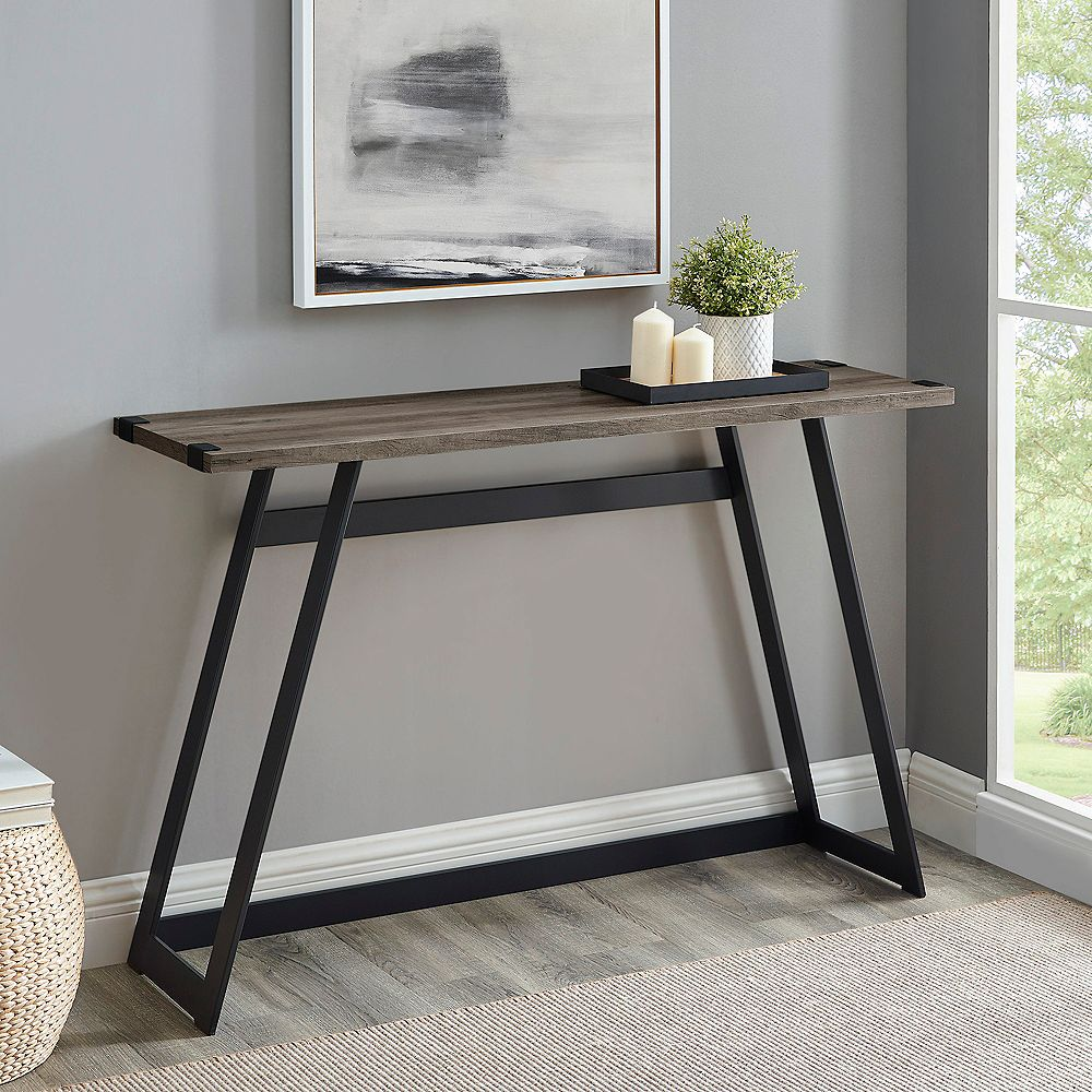 Welwick Designs 46-inch Gray Wash/Black Standard Rectangle Composite Console Table