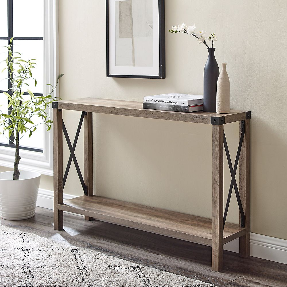 Welwick Designs Barnwood Farmhouse Accent And Entryway Table Grey Wash The Home Depot Canada