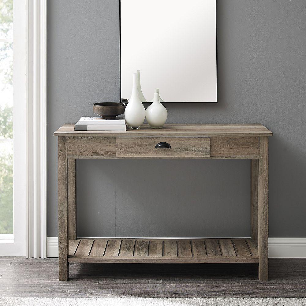 Welwick Designs Table console d'entrée style rustique de 121,9 cm (48 po) - Lavis Gris