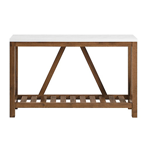 Modern Farmhouse Accent and Entryway Table - Marble/Walnut
