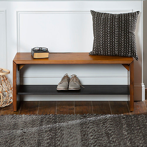 Rustic Solid Wood Entry Bench - Amber
