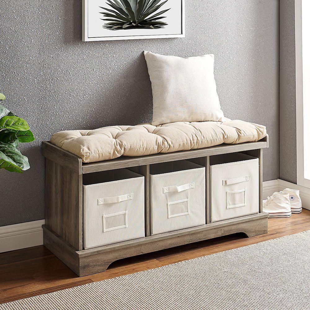 Welwick Designs Banc De Rangement D Entree En Bois Avec Coussins Et Sacs Style Rustique M Home Depot Canada